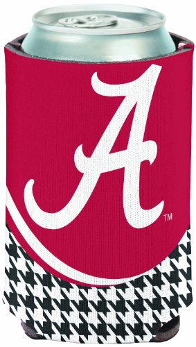 NCAA Alabama Crimson Tide  Hounds-tooth Can Cooler (White Script A)