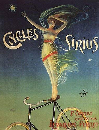 CYCLES SIRIUS BICYCLE WOMAN LEVALLOIS PERRET FRANCE LARGE VINTAGE POSTER REPRO (Vintage Bicycle Poster)