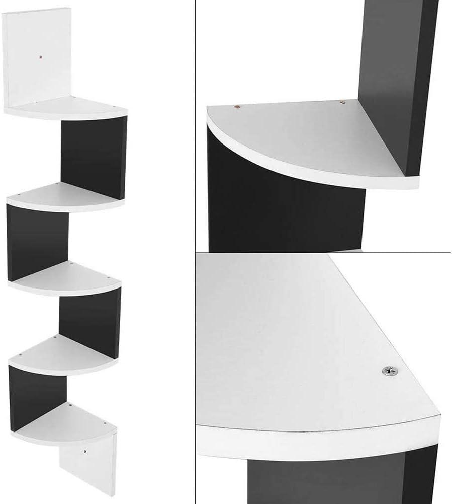 EBTOOLS Estanter/ía esquinera con 5 niveles color negro y blanco