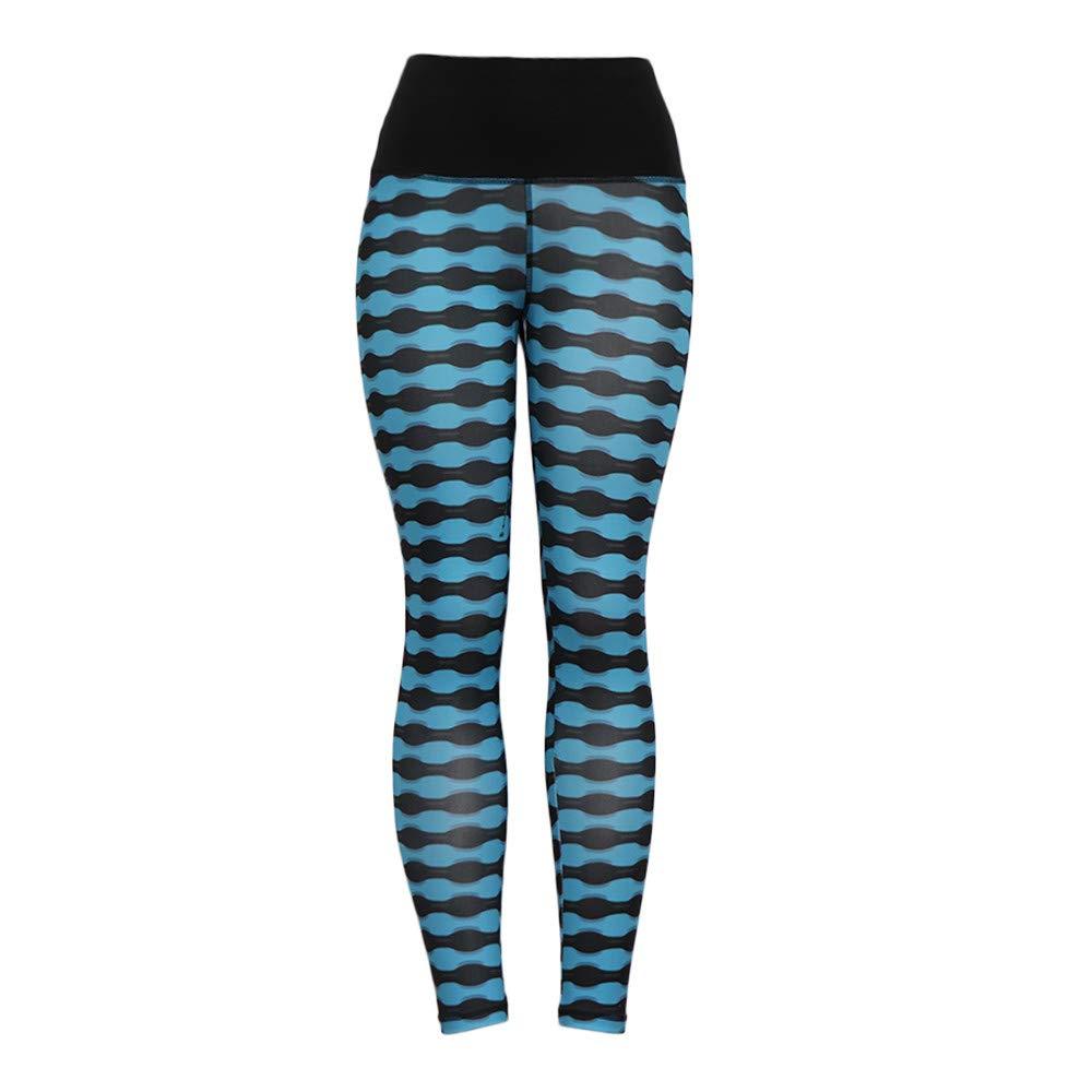 Xavigio_Women Leggings Women's High Waist Printing Yoga Pants Elasticity Butt Lifting Tummy Control Leggings Blue
