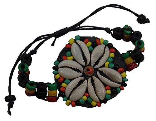Rasta Bracelet - Wooden Bracelet with Shell Flower