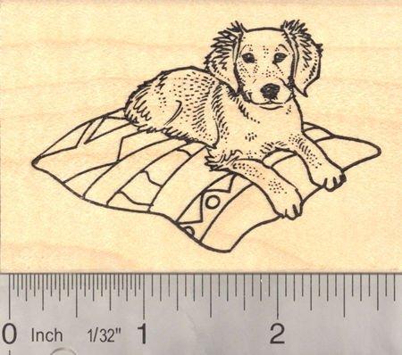 Golden Retriever Puppy on Blanket Rubber Stamp
