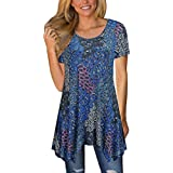 MIROL Womens Summer Short Sleeve Floral Print Irregular Hem Asymmetrical Loose Fit Tunic Tops (X-Large, Blue2)