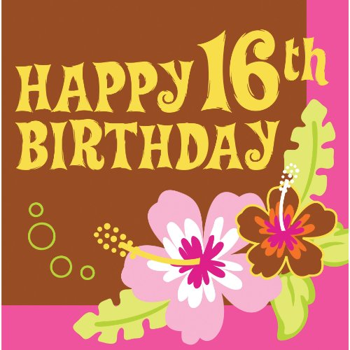 Nice Happy 16th Birthday Aloha Lunch Napkins Hawaiian Luau Party Supplies for cheap