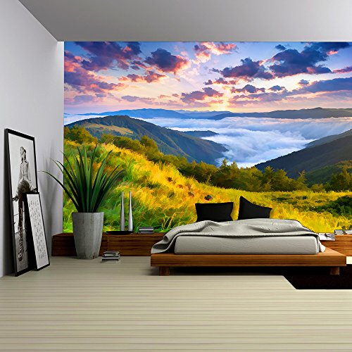 Digital Artwork in Watercolor Painting Style Beautiful Summer Sunrise in the Mountains