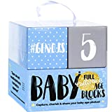 Ultimate Baby Boy Milestone Age Photo Blocks | The Only Wooden Double Set for Lifetime - Week, Month, Year, Pictures + Bonus Quotes | Unique Baby Shower & Newborn Gift, Infant Photo Sharing Prop