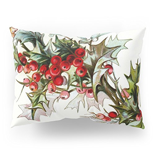 Society6 Vintage Leaf And Holly Berries Pillow Sham Standard (20