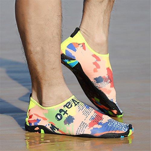 Wasserschuhe SAGUARO Sommer Trocknend für Mesh Strand Schnell Badeschuhe Aquaschuhe Slip on Damen Schlüpfen Schwimmen Karte Herren Sn4SxPrf