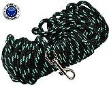 Braided Nylon Rope Tracking Dog Leash, Black with Green 15-Feet/30-Feet/45-Feet/60-Feet Training Lead for Small and Medium Dogs (60ft, Medium - Diam 3/8'' (8mm))