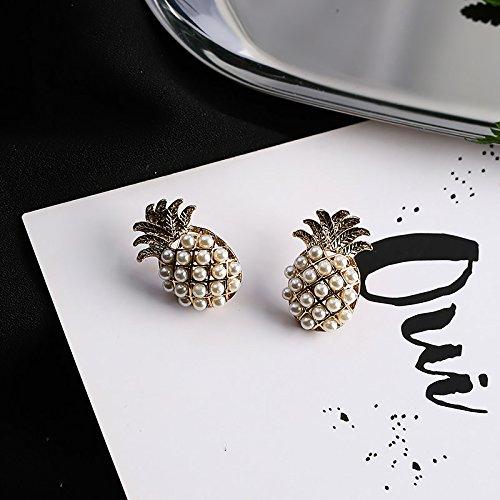 18K Gold Plated Imitation Pearls Pineapple Charm Women girls stud Earrings