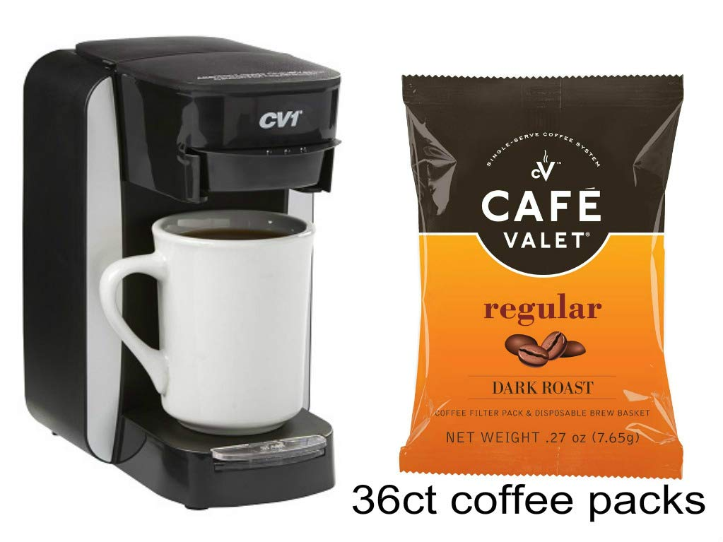 Café Valet One Cup Coffee Maker, Single Serve Coffee Brewer & 36Count Cafe Valet Regular One Cup Coffee Filter Packs by Cafe Valet