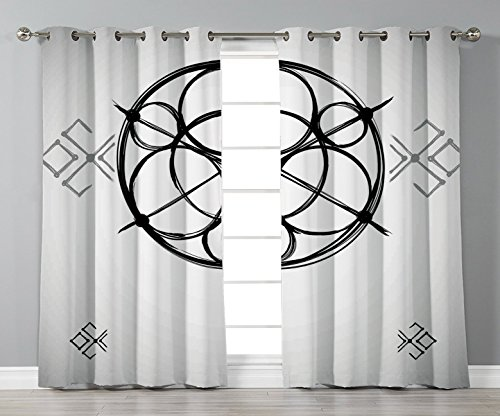 Thermal Insulated Blackout Grommet Window Curtains,Sacred Geometrty Decor,Sketchy Geometric Plan with Swirled Spiral Origins Cosmos Universe Decor,Multi,2 Panel Set Window Drapes,for Living Room Bedro