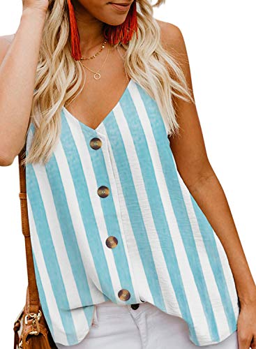 BLENCOT Women Cute Sleeveless Shirts Striped Blouses Button Up V Neck Spaghetti Strap Fashion Cami Tank Top Blue S ()