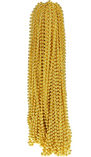 Juvale 72-Piece Mardi Gras Beads - Beads Bulk for Celebration - Mardi Gras Beads Necklaces for Costume Wear, Decoration and Party Favors, Gold, 33 Inches