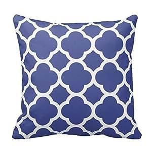 Navy Blue and White Moroccan Quatrefoil Design Pillow Classic Chevron Stripes Pattern For Decoration Zipper Pillow Case Cover