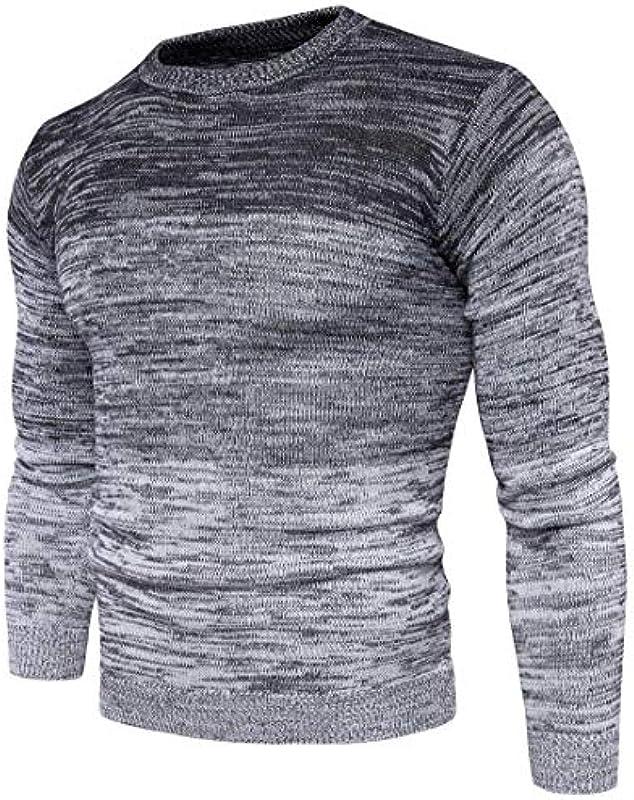 Męski Fashion sweter Gradient Fin dzianina sweter kolor elegancki prosty styl długi rękaw sweter dziergany: Odzież