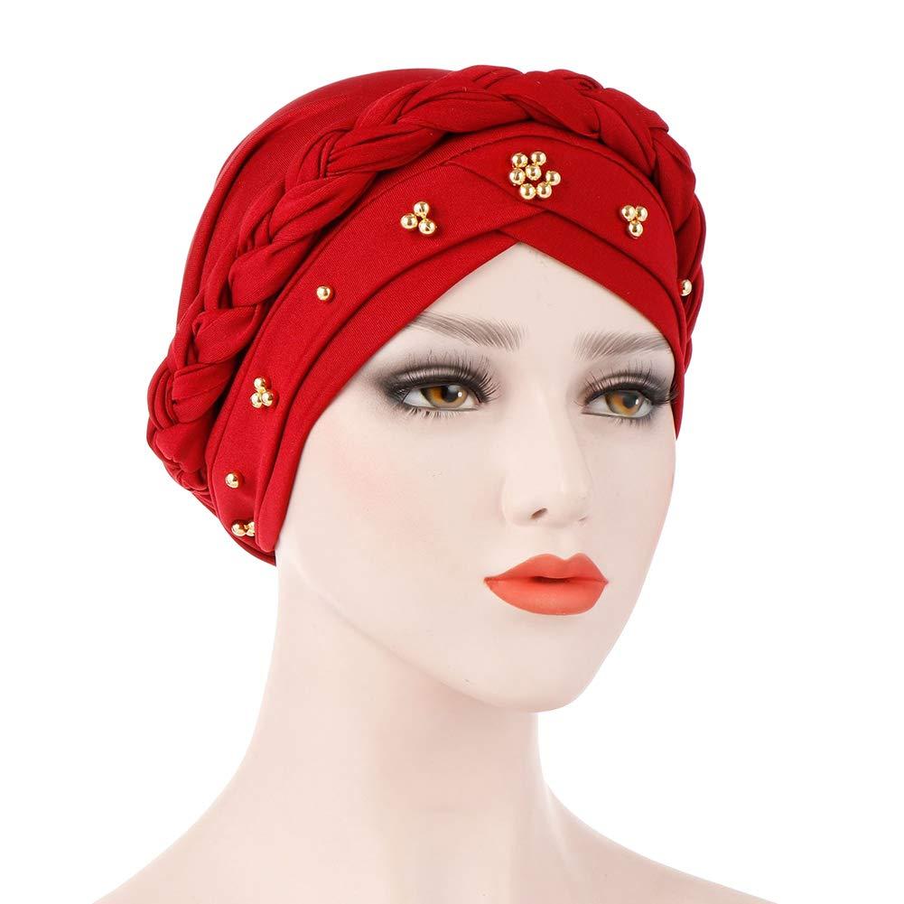 BrawljRORty Muslim Scarf Wraps - Solid Color Braid Beads Decor Women Muslim Hijab Turban Head Scarf Cap Hat