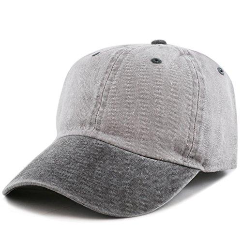 The Hat Depot Cotton Pigment Dyed Two Tone Low Profile Six Panel Plain Cap (Grey Black) ()