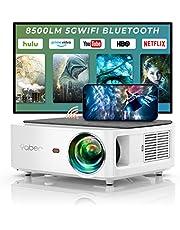 YABER WiFi Bluetooth 5G beamer 8500 lumen Full HD 1080P thuisbioscoop beamer, met 4-punts trapeziumcorrectie, ondersteuning 4K & 50% zoom, PPT presentatie beamer compatibel met iOS/Android/PC/Fire Stick projector