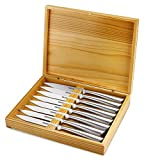 dinner ware for 8 - Steak Knives 8-Piece Serrated, Stainless Steel Steak Knife Set In Wooden Gift Box- Dishwasher Safe One Piece Construction -For Dinner, Parties, BBQ. At Home, Kitchen Or Restaurant