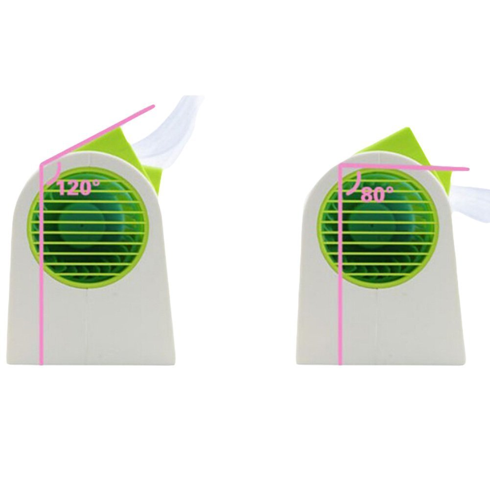 2016 New Double Layer USB Mini Air Conditioning Blade-less Fan Portable Mini-air Conditioner Outdoor office Runs On Batteries/USB (Green)