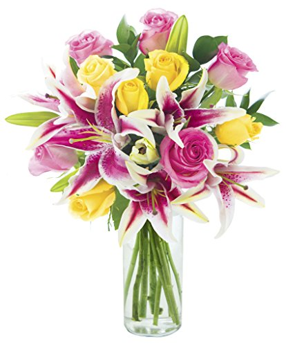 KaBloom Lily Pop Bouquet with Fresh Roses: 5 Pink Roses, 5 Yellow Roses, 5 Stargazer Lilies and Lush Greens with Vase