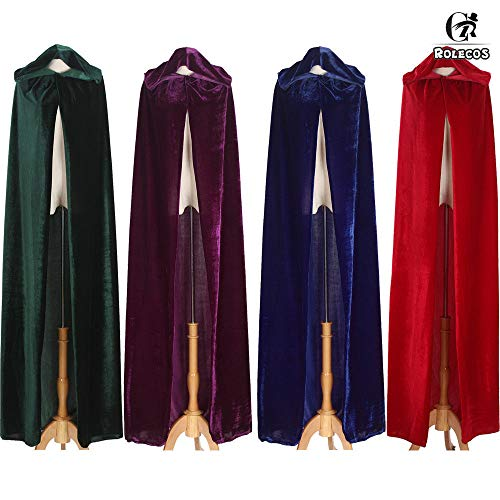 (MILAI Medieval Velvet Hooded Cloak Wicca Long Robe Halloween Witchcraft LARP Capes Green)
