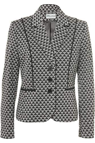 Busy Clothing Womens Black and Grey Geometric Pattern Jacket