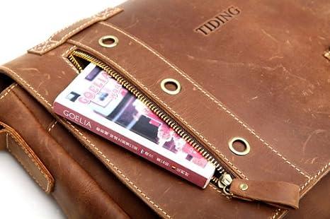 Genda 2Archer Flapover Leather Messenger Briefcase Satchel Mens Bag for 13 Inch Laptop