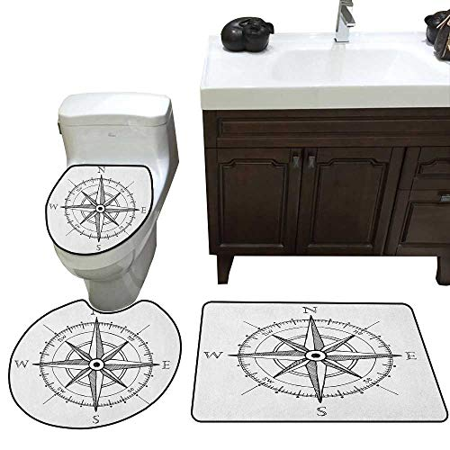 Moeeze-Home Compass 3 Piece Anti-Slip mat Set Hand Drawn Compass Windrose North and South East West Directions Black and White Rug + Lid Toilet Cover + Bath Mat Black White -