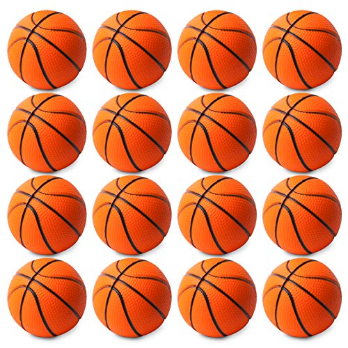 WATINC 16 Pcs 2.5Inch Basketball Squishies Soft Foam Sports Balls for Kids Sports Themed Party Favor Toys, Squeeze Balls for Stress Relief, Ball Games and Prizes, Perfect for Small Hands Stress Balls -
