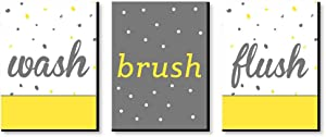 Big Dot of Happiness Yellow and Gray - Kids Bathroom Rules Wall Art - 7.5 x 10 inches - Set of 3 Signs - Wash, Brush, Flush
