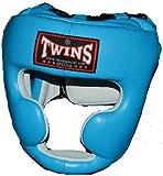 TWINS本革製ヘッドガード スカイブルー PTTW3190 キッズサイズあり/トップファイター トレーニング映像付