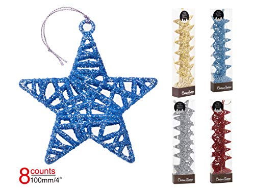 Christmas Traditions 4 inch Blue Glittered Rattan Star Ornaments Hanging Tree/X'Mas Gifts/X'Mas Table Decorations (Set of 8)