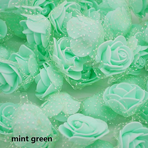 Zhuangshihua 50Pcs/Lot 3.5Cm PE Foam Rose Multi-Use Artificial Flower Head Handmade With Tulle DIY Wedding Home Party Decoration Supplies mint green from Zhuangshihua