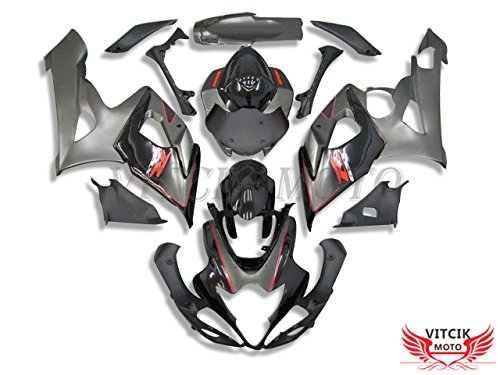 VITCIK (Fairing Kits Fit for Suzuki GSXR1000 K5 2005 2006 GSXR 1000 GSX R1000 K5 05 06) Plastic ABS Injection Mold Complete Motorcycle Body Aftermarket Bodywork Frame (Gray & Black) A071