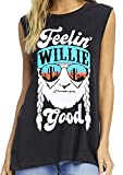 DUTUT Tank Tops Women Feelin' Willie Good Tank Summer O-Neck Graphic tee Sleeveless Vest Tops Size M (Black)