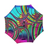YUMOING Double Layer Inverted Fractal Pattern Abstract Form Chaos Chaotic Umbrellas Reverse Folding Umbrella Windproof Uv Protection Big Straight Umbrella For Car Rain Outdoor With C-shaped Handle