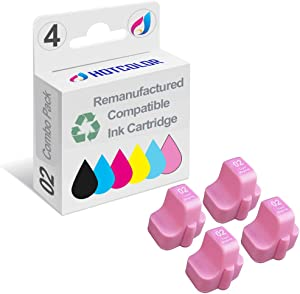 HOTCOLOR 4 Pack 02 Light Magenta Ink Cartridge Remanufactured for HP 02 Light Magenta C8775WN#140