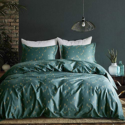 mixinni 3 Pieces Duvet Cover Set, 100% Natural Cotton,Gold Arrows Printed on Queen Full Size Green Duvet Cover with Zipper&Ties, 1 Duvet Cover and 2 Pillowcases, Ultra Soft,Breathable-Dark Green (Cover Dark Queen Duvet Green)