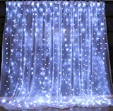 indoor icicle lights led - Brightown String lights Window Curtain,300 LED Icicle Fairy Twinkle Starry Lights-UL Listed for Indoor and Outdoor, Wedding, Christmas, Home Bedroom Wall Decoration, Party (9.8ftx9.8ft, Pure white)