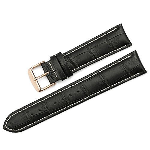 iStrap 21mm Calf Leather Stitched Replacement Watch Band Spring Bar Rose Gold Buckle Strap Black