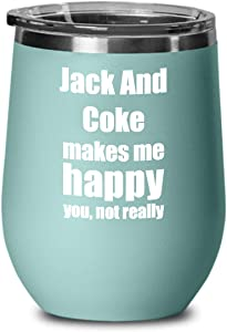 Jack And Coke Cocktail Wine Glass Lover Fan Funny Gift Alcohol Mixed Drink Insulated Tumbler With Lid Teal