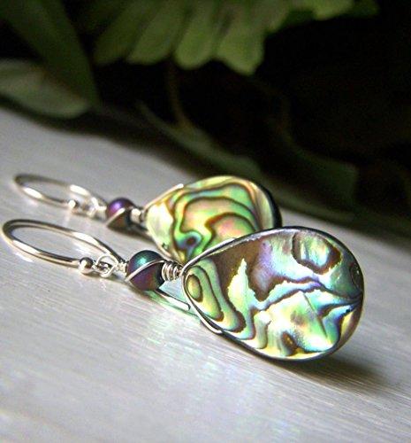 Genuine Abalone Earrings - Sterling Silver Drop - Teardrop Paua Shell Handmade (Paua Teardrop Shell)