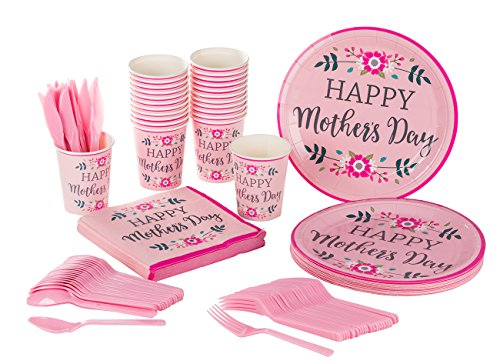 Mother's Day Party Supplies - Serves 24 - Includes Plates, Knives, Spoons, Forks, Cups and Napkins. Perfect Mother's Day Party Pack for Mother's Day Themed ()