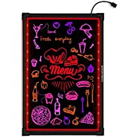 Woodsam 32x24 Neon LED Erasable Message Writing Sign Board, For Holiday/Event/Menu Decoration Promotion Gift, Flashing Illuminated with Remote Controlled, Multiple Colors