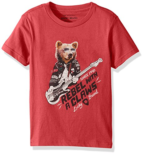 Lucky Brand Boys' Toddler Short Sleeve Graphic Tee Shirt, Scarlet sage Bear, 4T