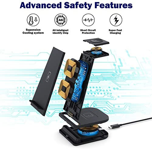 Upgraded 2021, 15W Fast Wireless Charger Stand 3 in 1 Charging Station Compatible for iPhone 12/12 Pro/12 Pro Max/11/11 Pro Max/XR/XS Max/XS/X, iWatch 6/5/4/3/2, Airpods Pro/2 - with QC 3.0 Adapter