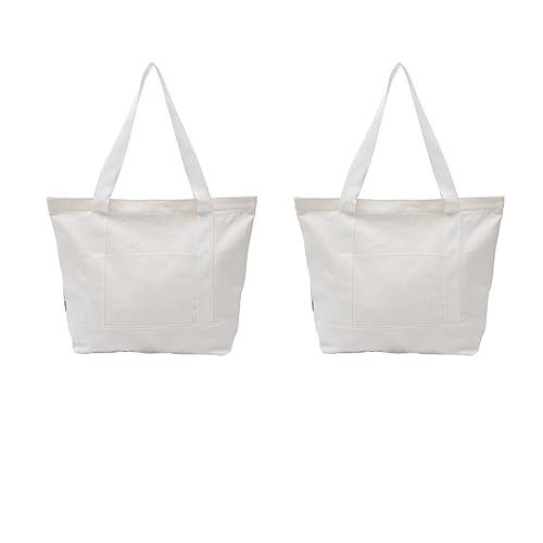 Augbunny - Bolsas de lona resistentes 100% algodón con cremallera, bolsos de hombro para playa o para la compra con bolsillo exterior, 2 unidades