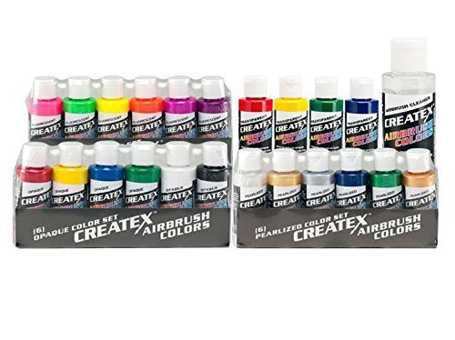 Createx Colors Airbrush Paint - 22 Colors and Cleaner - 2 oz